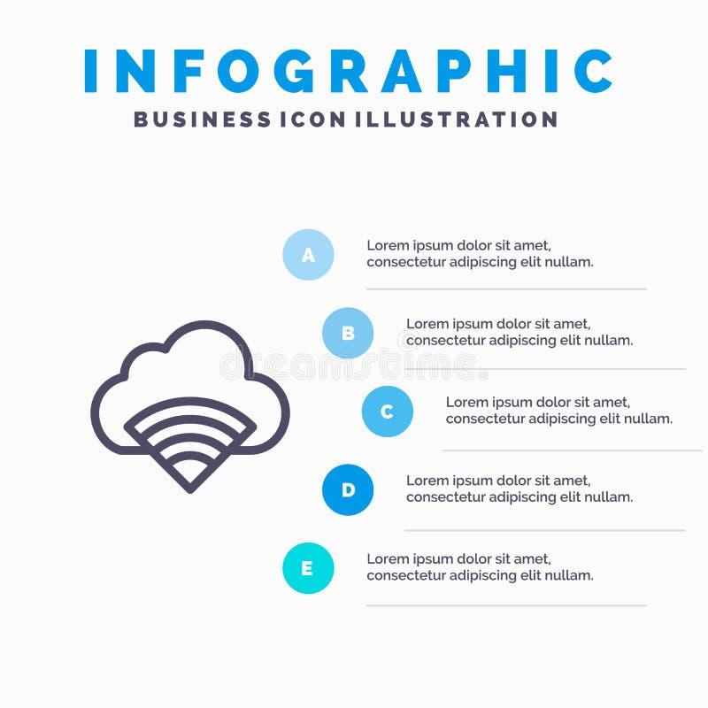 Chmura, związek, Wifi, Sygnałowi Błękitni Infographics szablonu 5 kroki Wektor ikony kreskowy szablon ilustracji