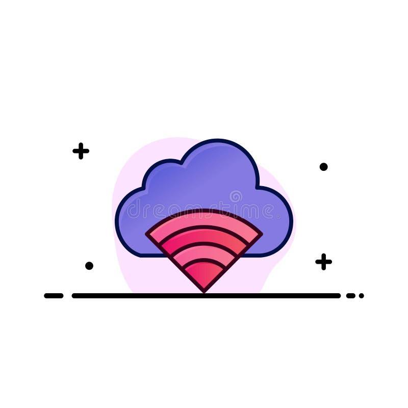 Chmura, związek, Wifi, Sygnałowy Biznesowy logo szablon p?aski kolor ilustracji