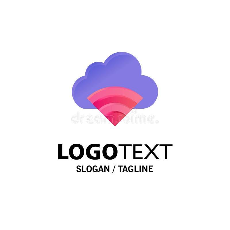 Chmura, związek, Wifi, Sygnałowy Biznesowy logo szablon p?aski kolor ilustracja wektor