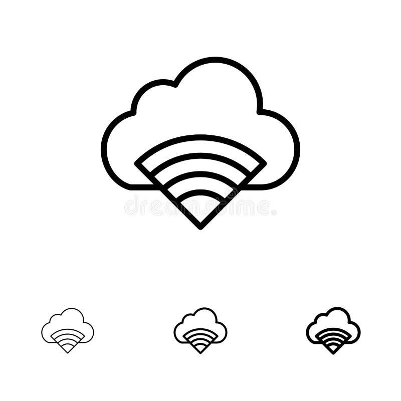 Chmura, związek, Wifi, Sygnałowy czerni linii ikony set, Śmiały i cienki ilustracji