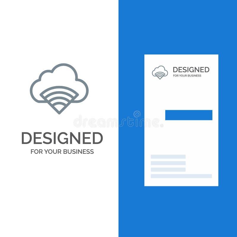 Chmura, związek, Wifi, sygnału logo Popielaty projekt i wizytówka szablon, ilustracji