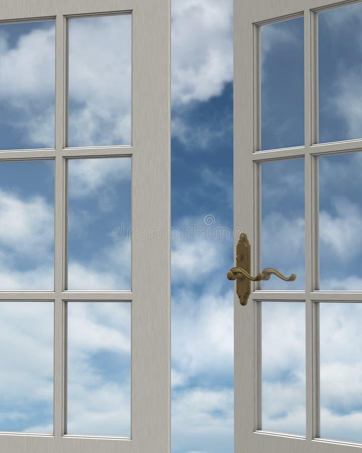 chmurnego nieba widok okno ilustracji