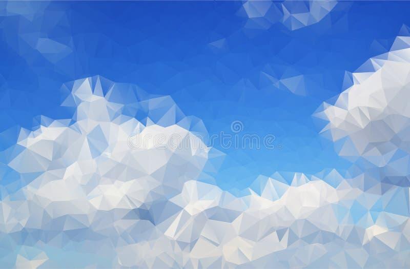 Chmurnieje abstrakcjonistycznego tło wieloboka. ilustracji