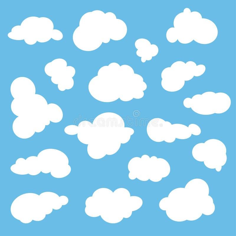 Chmurnieje ikonę, wektorowa ilustracja Obłoczny symbol lub logo, różne chmury ustawiać ilustracji