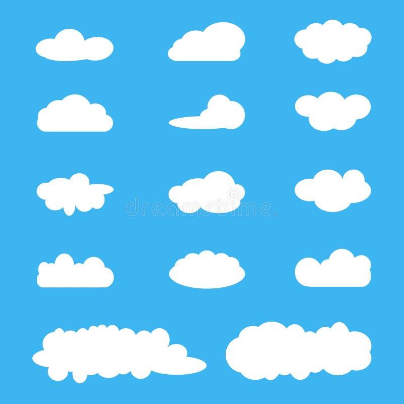 Chmurnieje ikona set, biel chmury na błękicie Obłoczna oblicza paczka cztery elementy projektu tła snowfiake białego ilustracji