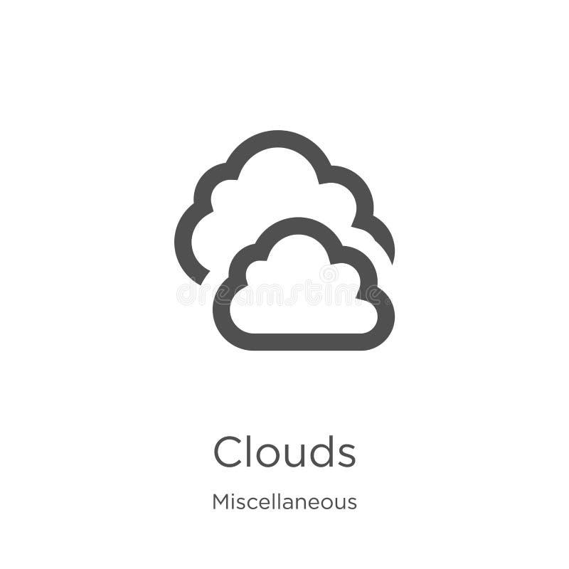 chmurnieje ikona wektor od różnej kolekcji Cienka kreskowa chmura konturu ikony wektoru ilustracja Kontur, cienkie linii chmury ilustracji