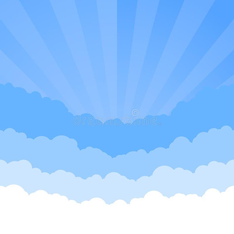 Chmurnieje niebo z retro stylowym wschód słońca Linia horyzontu tekstura cloud chmurnego t?o 1 niebo Papier chmur warstwy r?wnie? ilustracji