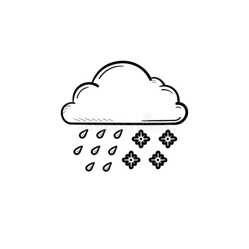 Chmurnieje z śniegiem i pada ręka rysującą konturu doodle ikonę ilustracji