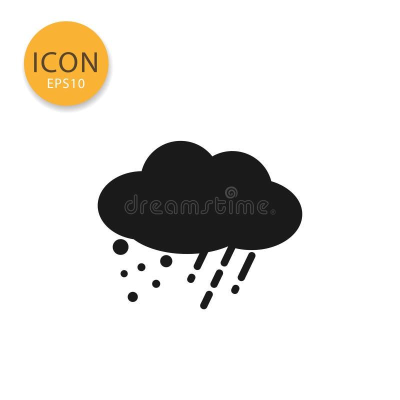 Chmurnieje z deszczem i śniegiem z obłoczna ikona odizolowywającym mieszkanie stylem ilustracji