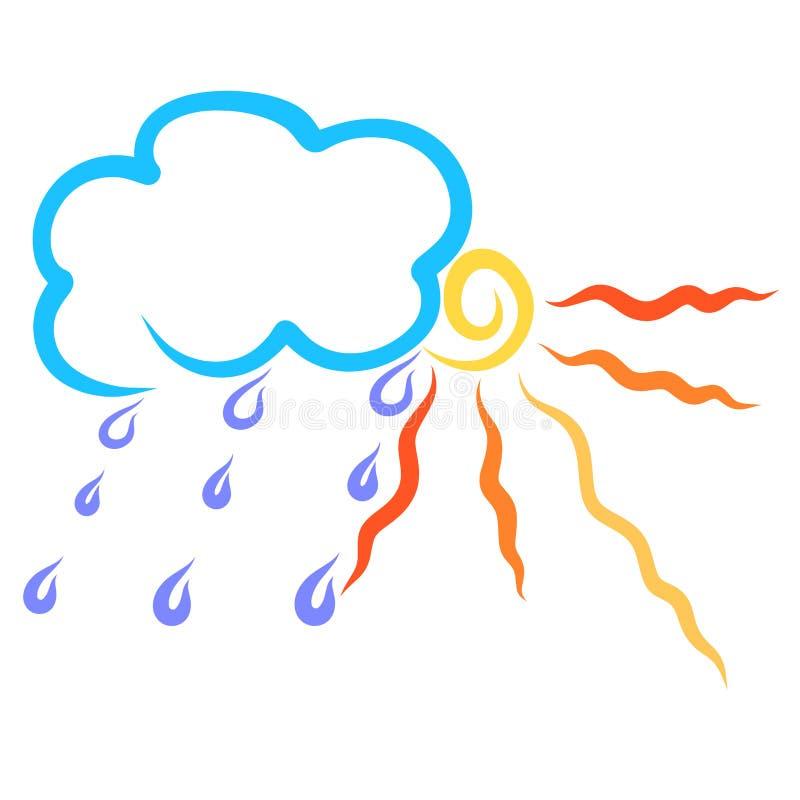 Chmurnieje z raindrops i olśniewającym słońcem, pogoda ilustracji
