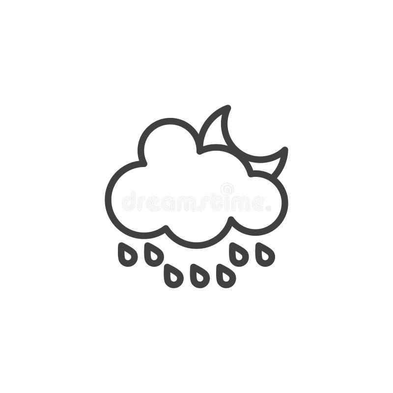 Chmurnieje z raindrops i półksiężyc księżyc linii ikoną ilustracja wektor