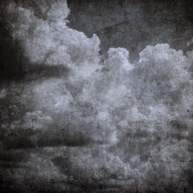 Chmurny Grunge niebo, Halloween chmurny tło royalty ilustracja