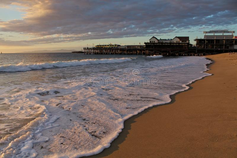 Chmurny niebo Nad Redondo plaży molem, Los Angeles, Kalifornia obraz royalty free