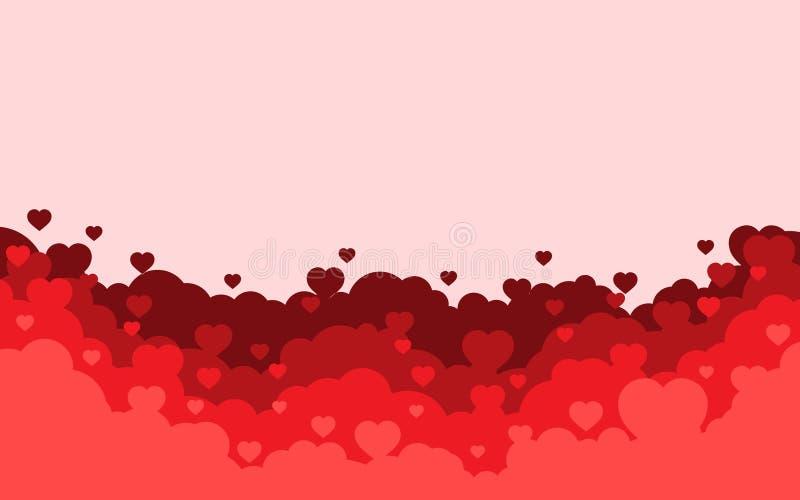 Chmurny niebo z czerwonym serca tłem Walentynka dnia wakacje karta Kresk?wki mieszkania stylu projekt r?wnie? zwr?ci? corel ilust royalty ilustracja