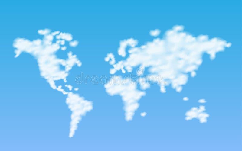 Chmury Światowej mapy ilustracja ilustracja wektor