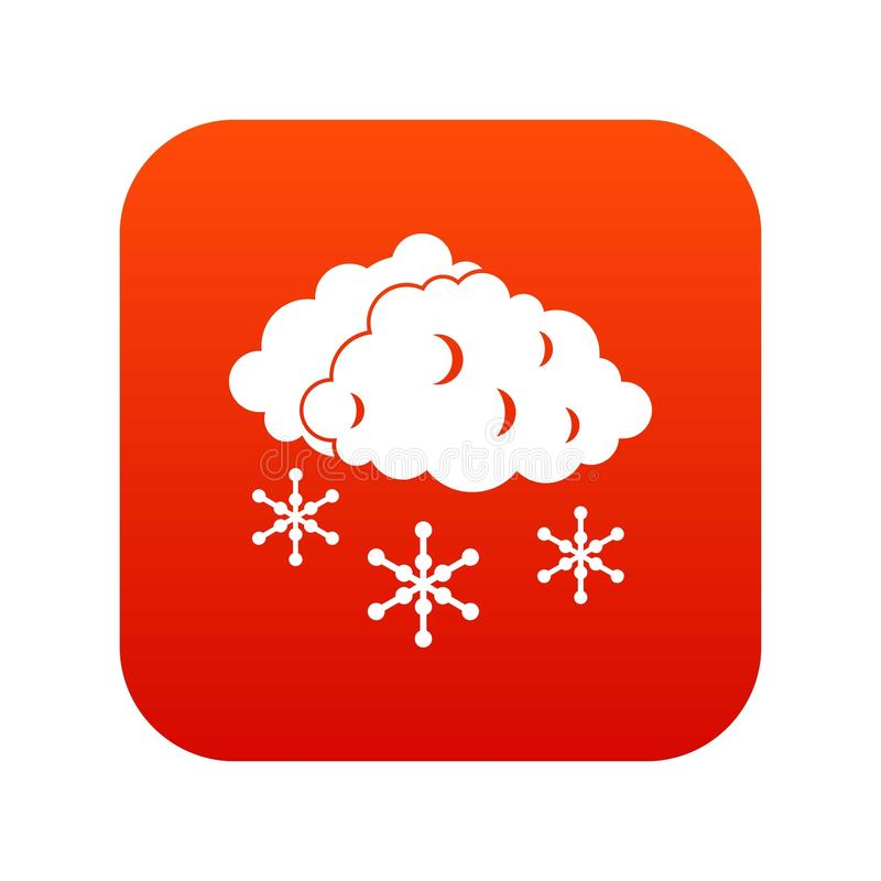 Chmury i śnieżnej ikony cyfrowa czerwień ilustracja wektor