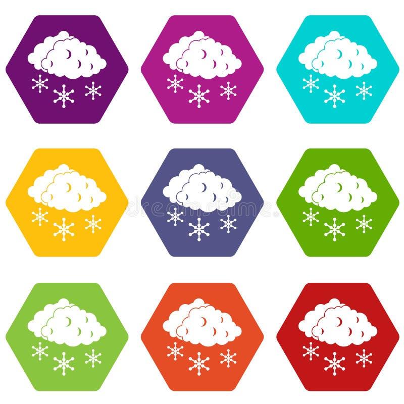 Chmury i śnieżnej ikony koloru ustalony sześciobok ilustracji