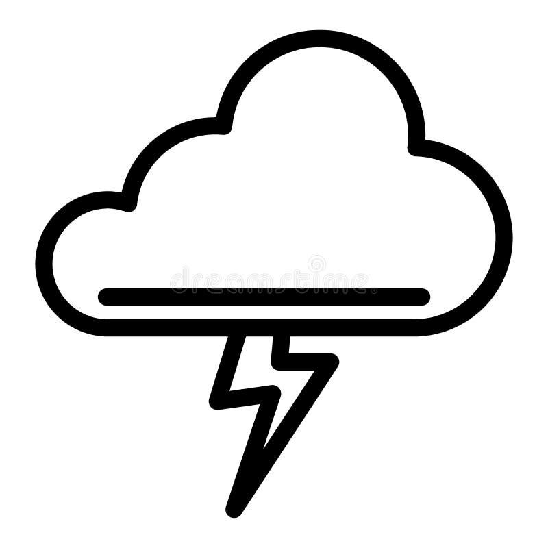 Chmury i burzy kreskowa ikona Błyskawicowy rygiel w obłocznej wektorowej ilustraci odizolowywającej na bielu Burza konturu styl ilustracji