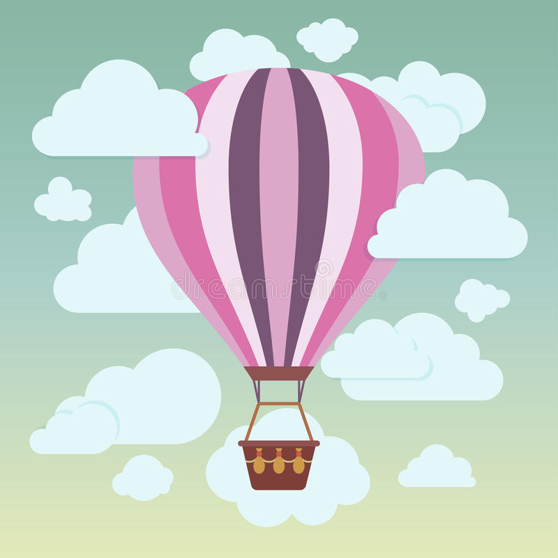 Chmury i pasiasty gorące powietrze szybko się zwiększać na błękicie ilustracji
