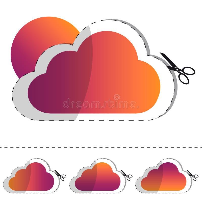 Chmury I słońca majcheru Płaska ikona Z linią Odizolowywającą Na Białym tle - Retro modnisia Wektorowa ilustracja - ilustracji