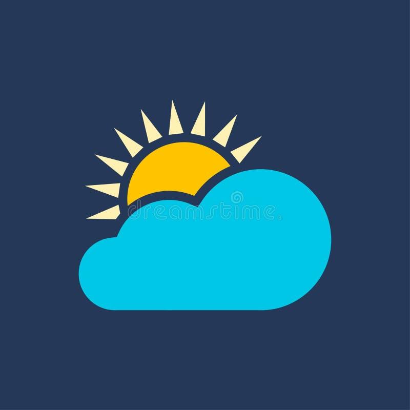 Chmury i słońce dla pogodowych ikon ilustracji