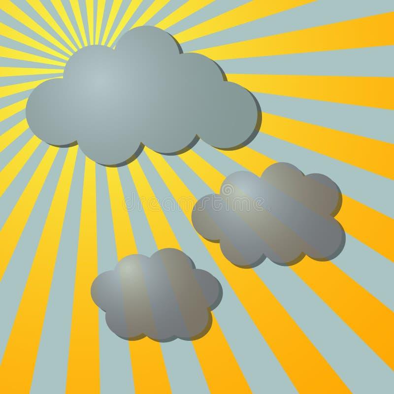 Chmury i słońce promieniowi promienie ilustracji