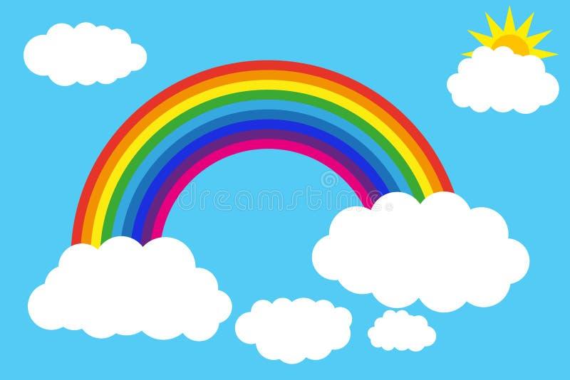 Chmury i tęcza w niebieskim niebie ilustracja wektor