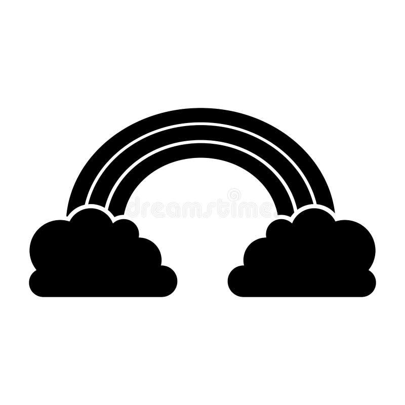 Chmury i tęczy ikona ilustracja wektor