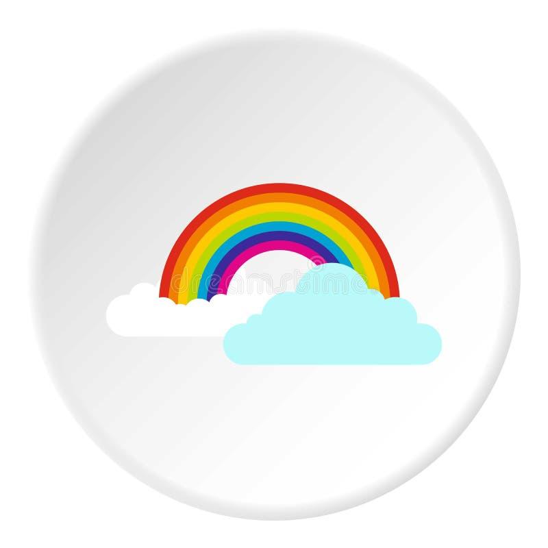 Chmury i tęczy ikona, mieszkanie styl ilustracji