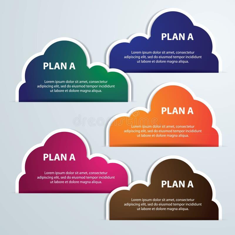 Chmury infographics linia czasu etykietki wektoru ilustracja ilustracji