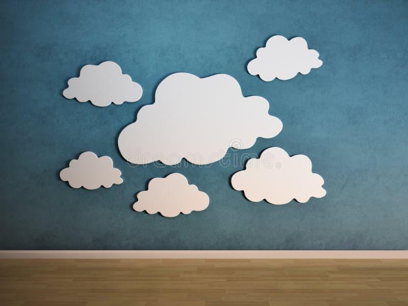 chmury izolują biel ilustracja wektor