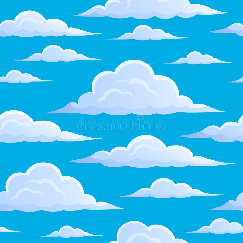 Chmury na niebieskiego nieba bezszwowym tle 1 ilustracja wektor