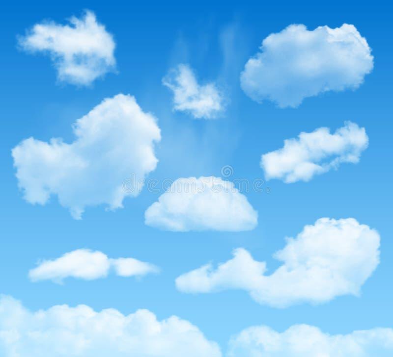 Chmury na niebieskiego nieba tle ilustracja wektor
