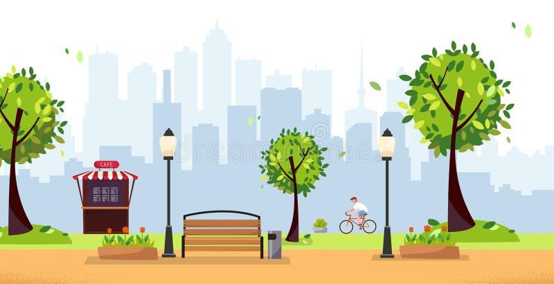 chmury nad parkowymi lat bia?e drzewa Jawny park w mieście z Uliczną kawiarnią, fast food restauracja przeciw wieżowiec sylwetce  royalty ilustracja