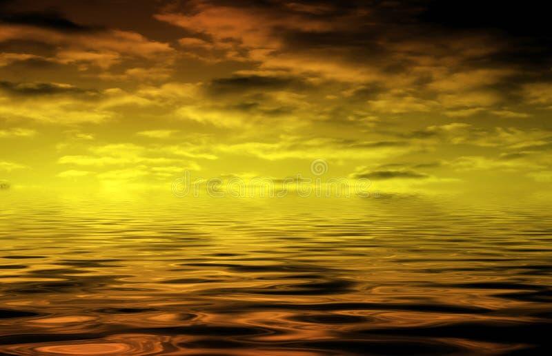 chmury nad wodą ilustracja wektor