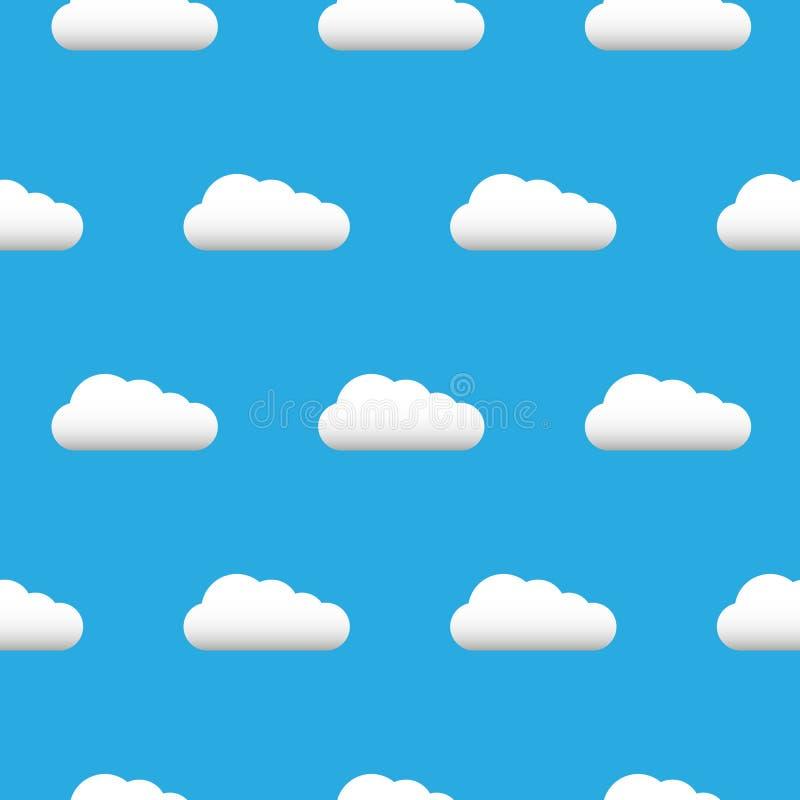 Chmury nieba wzór odizolowywający na błękitnym tle Chmury, niebo wzór dla strony internetowej, etykietka, sztandar, tło i tapeta, royalty ilustracja