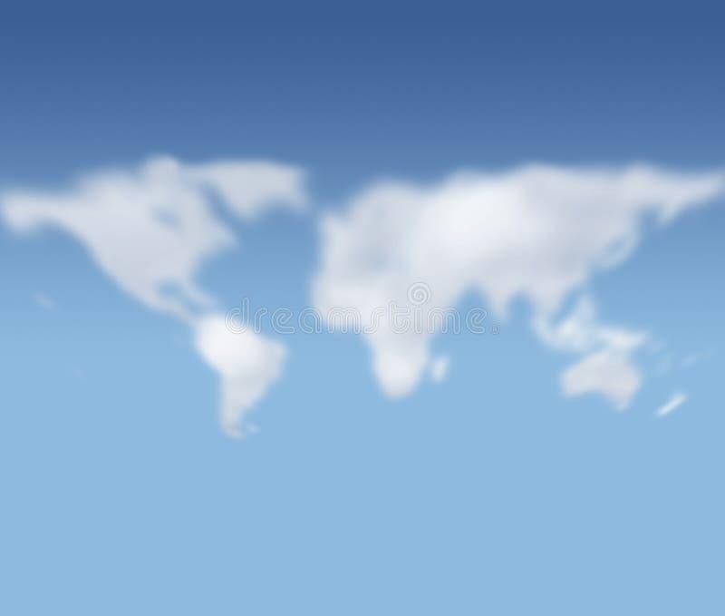 chmury obliczają mapa target2390_0_ świat royalty ilustracja