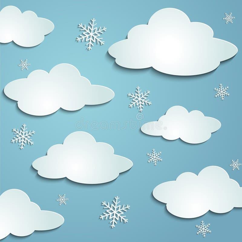 Chmury, płatki śniegu ilustracji