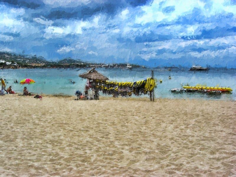 Chmury Płoną Na Brzegu Palmy De Mallorca zdjęcie royalty free