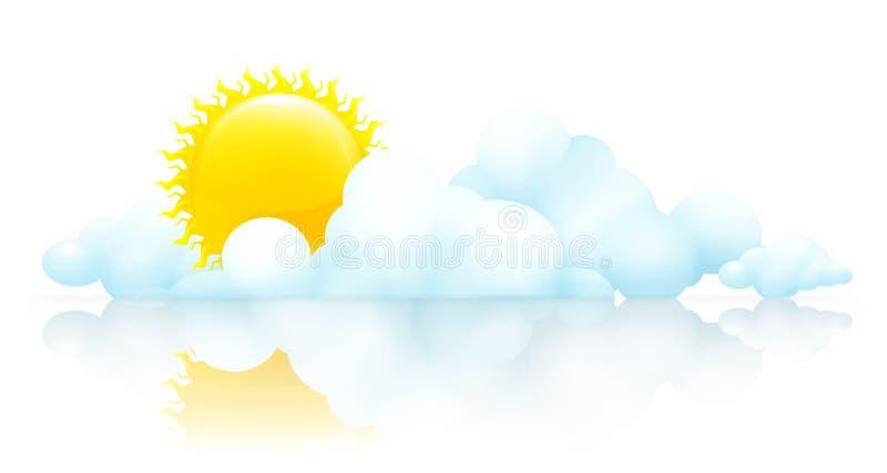 chmury słońce ilustracji