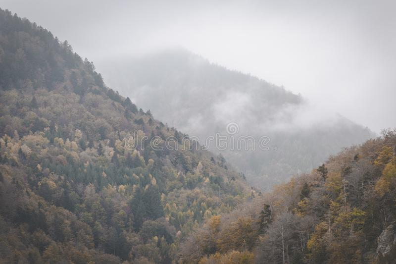 Chmury stacza się przez jesieni gór na ciemnym i markotnym dniu Vosges, Francja fotografia royalty free