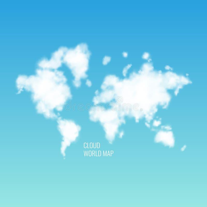 Chmury w formie światowej mapy w niebieskim niebie realistyczna ballons ilustracja ilustracji