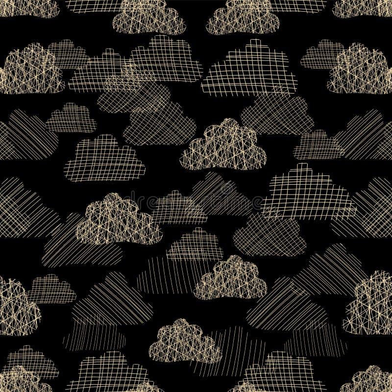 Chmury w niebo wektoru bezszwowym wzorze Beżowe białe sylwetki textured chmury na czarnym tle Dżdżysty chmurny niebo ilustracji