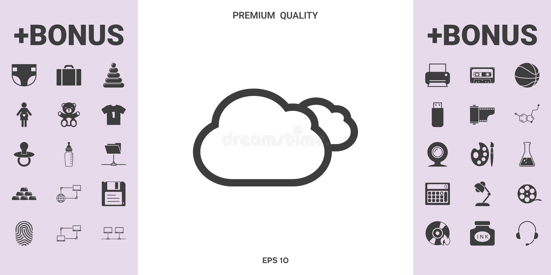 Chmury wykładają ikonę ilustracja wektor