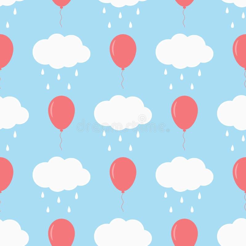 Chmury z raindrops i latanie balonami Dziecka ` s bezszwowy wzór royalty ilustracja