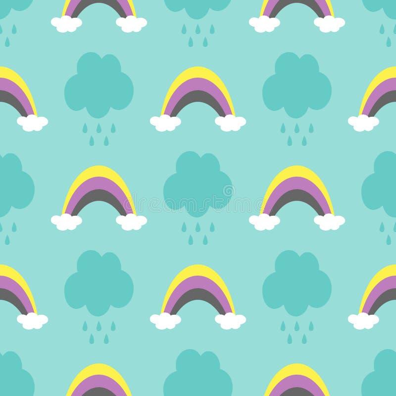 Chmury z raindrops i tęczami Śliczny bezszwowy wzór dla dzieci ilustracja wektor