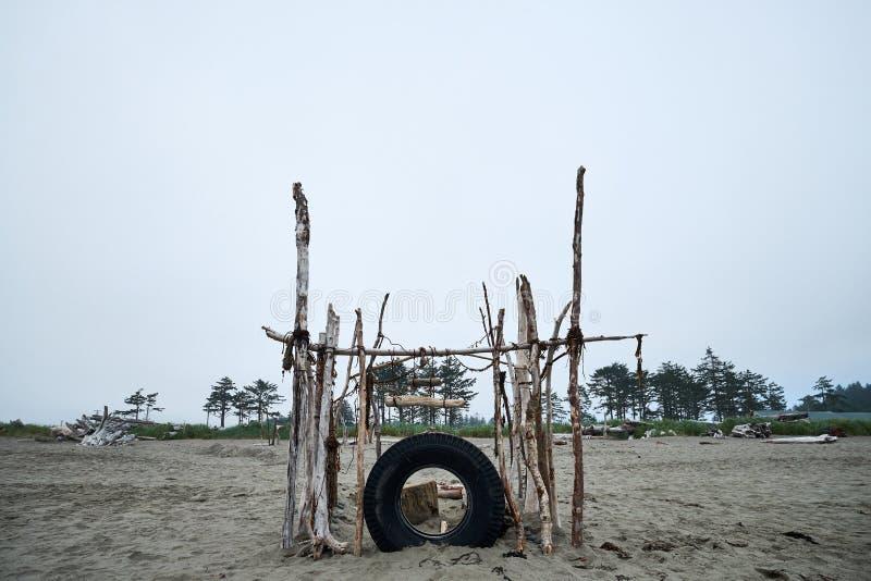 Chmurzący Plażowy fort zdjęcia royalty free