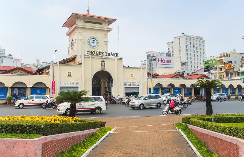 Cho Ben Thanh eller Ben Thanh Market i Ho Chi Minh City arkivfoto