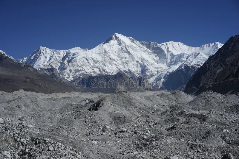 Cho Oyu and Ngozumpa Glacier in Himalayas stock images