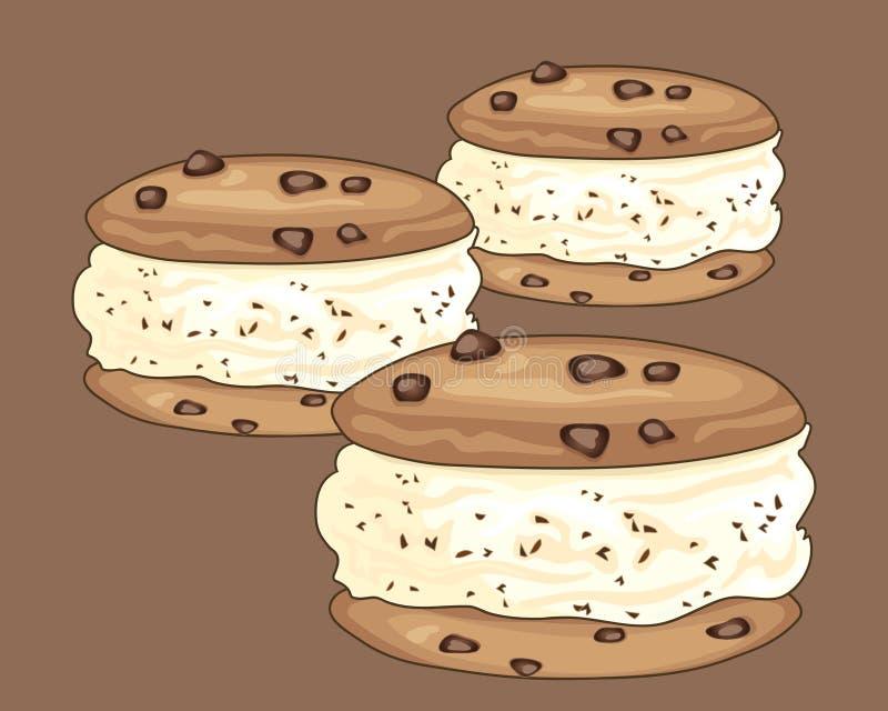 Choc芯片冰淇凌三明治 向量例证